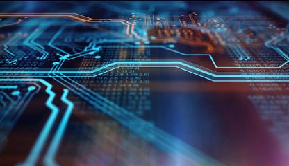 Orange,  blue technology background/Orange and blue technology background circuit board and code