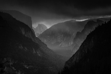 Tunnel View Snow Clouds over Yosemite Valley