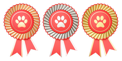 Set of dog or cat winning awards, medals or badges with ribbons. 3D rendering