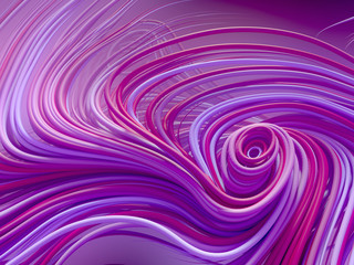 Interlacing abstract blue and pink curves. 3D rendering