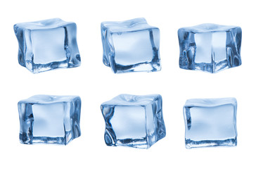 Set of ice cubes isolated on white background