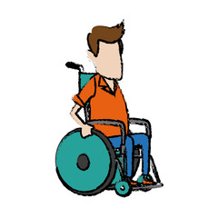 man character disabled sitting in wheelchair image