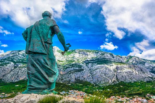 Makarska Biokovo landscape. / Scenic view at Biokovo mountain landscape over Makarska town, Croatia, Dalmatia region.