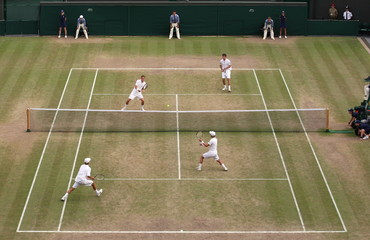 General view of Great Britain's Liam Broady and Tom Farquharson and Lewis Burton and George Morgan during the Boy's Doubles Final