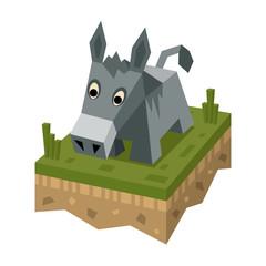 Isometric flat donkey on ground tile