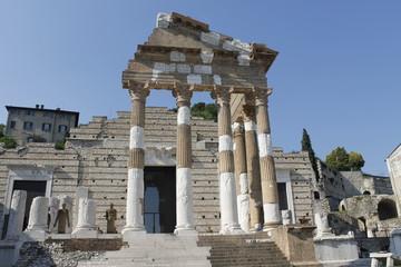 Ruins of the roman temple called Capitolium or Tempio Capitolino in Brescia in Italy