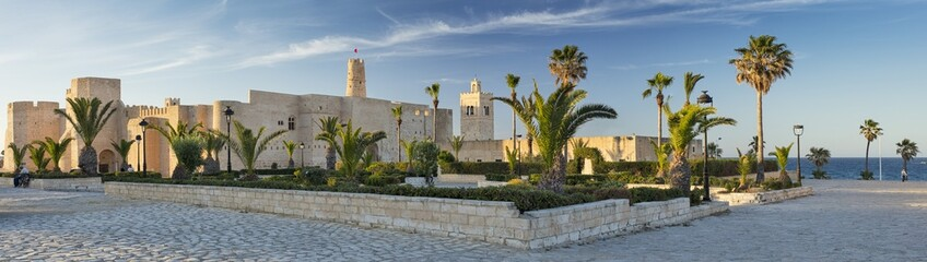 panorama with old fort and palm trees with blue sky in Tunisia