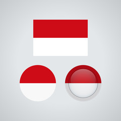 Indonesian trio flags, vector illustration