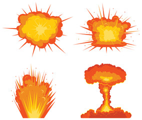 Four types of explosions vector icon