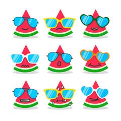 Cartoon watermelon emojis with emotion.