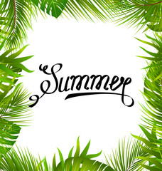 Lettering Text Summer with Border made in Palm Leaves