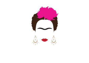 portrait of Mexican or Spanish woman minimalist Frida with earrings and flowers , vector isolated