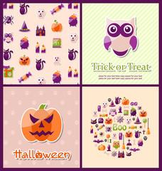 Halloween Postcards. Set Banners
