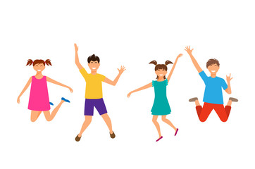 Happy Cartoon Cheerful Young Girls and Boys Jumping. Children Isolated