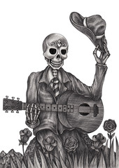 Art skull playing guitar day of the dead.Hand pencil drawing on paper.