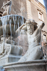 Landmarks of Catania, Sicily: closeup view of the Amenano fountain by the main Dome Square