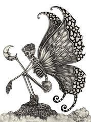 Art fairy skull .Hand pencil drawing on paper.