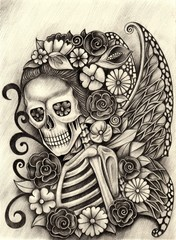 Art fairy skull .Hand pencil drawing on paper.