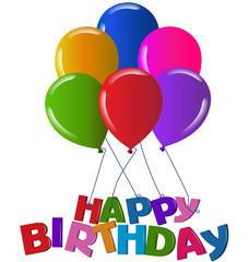 Happy birthday with balloons graphic illustration vector logo