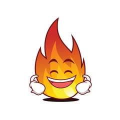 Grinning fire character cartoon style