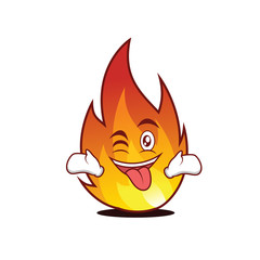 Tongue out with wink fire character cartoon style