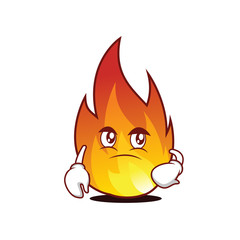 Confused fire character cartoon style