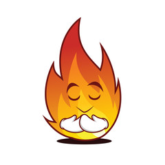 Praying fire character cartoon style