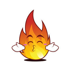 Kissing closed eyes fire character cartoon style