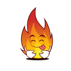 Tongue out fire character cartoon style