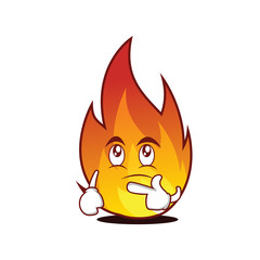 Thinking fire character cartoon style