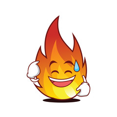 Sweat smile fire character cartoon style