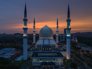 Aerial view of Shah Alam Mosque during sunset