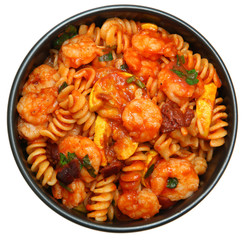 Shrimp and Fusilli Pasta with Summer Squash and Olives