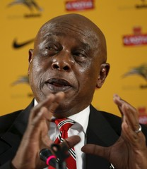 South African businessman and former political prisoner Tokyo Sexwale speaks during a media briefing at SAFA house in Johannesburg