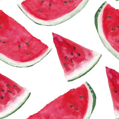 Watercolor seamless pattern with watermelons slices on white background. Hand painting on paper