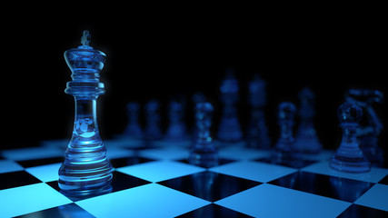 3d Render Chess Leader blue Glass Material with in Black color background . Top light