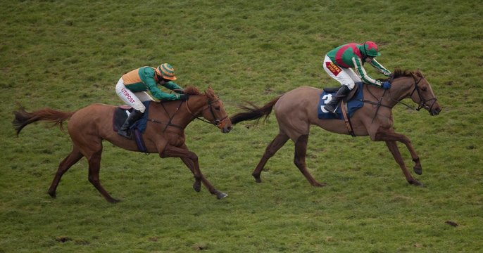 Vieux Lion Rouge ridden by Tom Scudamore (R) lead Chase The Wind ridden by Noel Fehily home to win the 15.30; The Betfred Hat Trick Heaven 'Junior' National Hunt Flat Race