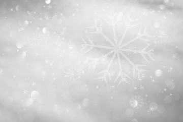Abstract silver color blurry bokeh with snowflakes illustration. Lovely Christmas and New Year Holiday greeting card copy space background.