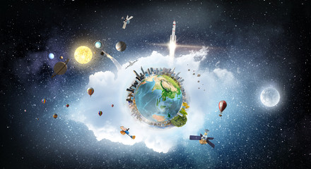 Globe in space. Mixed media