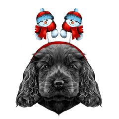 dog breed Cocker Spaniel puppy with Christmas headband on his head with horns, and snowmen, sketch vector graphics color picture