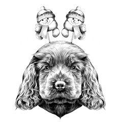 dog breed Cocker Spaniel puppy with Christmas headband on his head with horns, and snowmen, sketch vector graphics black and white drawing