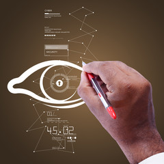 Man drawing human  eye