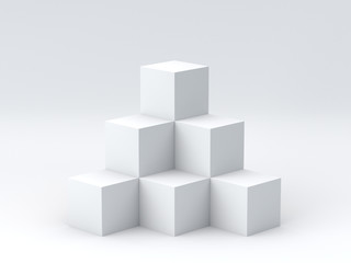 White cube boxes on dark background for display. 3D rendering.