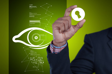 Man Showing human eye  with security concept