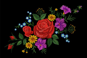 Rose flower embroidery texture patch. Red field flower herb textile print neckline traditional decoration ornate vector illustration on black background