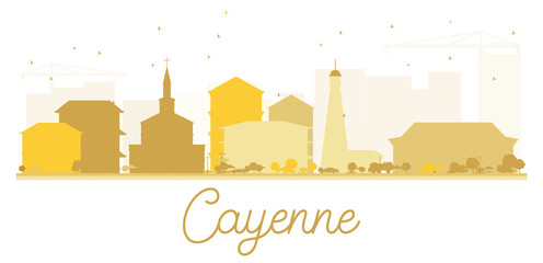 Cayenne City skyline golden silhouette.