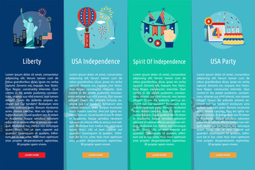 Independence Day of USA Vertical Banner Concept