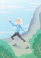 Elderly gray-haired man practicing Taiji or Wushu gymnastics in nature. Active lifestyle and sport activities in old age. Vector illustration.