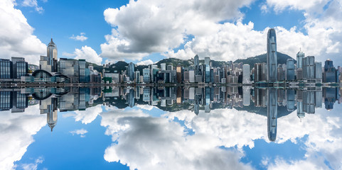 panoramic view of victoria harbor in Hong Kong,China.