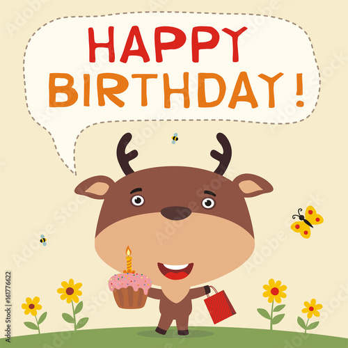 Happy birthday funny deer with birthday cake and gift birthday happy birthday funny deer with birthday cake and gift birthday card with deer in bookmarktalkfo Image collections